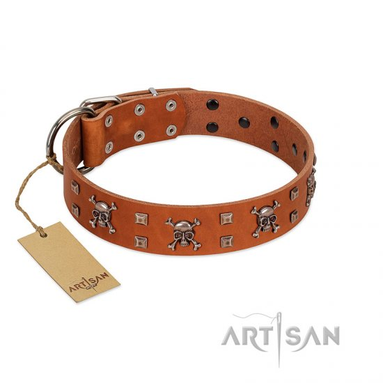 """Rebellious Nature"" FDT Artisan Tan Leather Great Dane Collar Embellished with Crossbones and Square Studs"