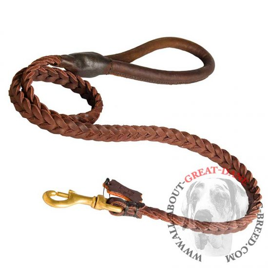 Braided Leather Great Dane Leash with Round Handle
