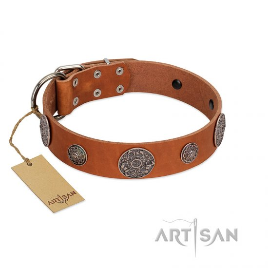 """Foxy Nature"" FDT Artisan Tan Leather Great Dane Collar with Chrome Plated Brooches"