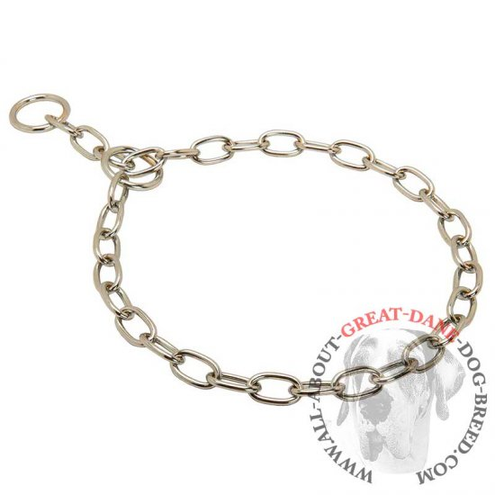 Chrome Plated Chain Choke Great Dane Collar - 1/8 inch (3.2 mm)
