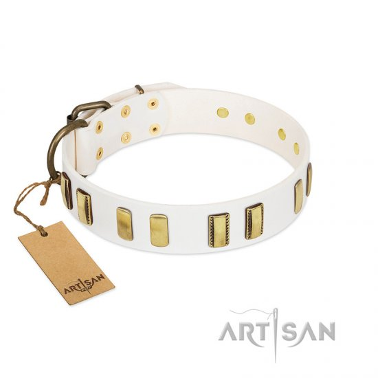 """Glorious Light"" FDT Artisan White Leather Great Dane Collar with Old Bronze-like Plates"