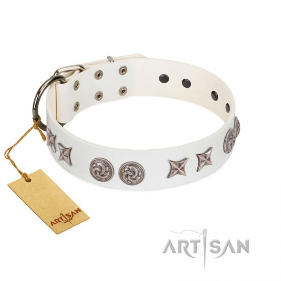 """Galaxy Hunter"" FDT Artisan White Leather Great Dane Collar with Engraved Brooches and Stars - Click Image to Close"