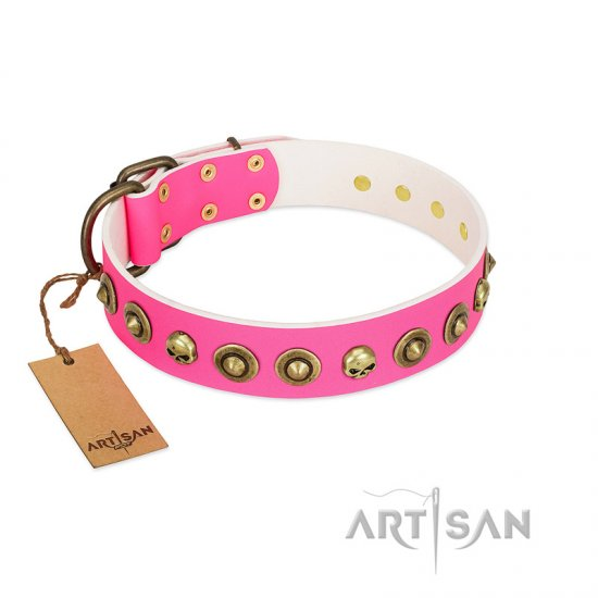 """Pawty Time"" FDT Artisan Pink Leather Great Dane Collar with Decorative Skulls and Brooches"