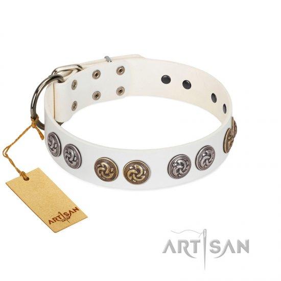 """White Moonlight"" FDT Artisan White Leather Great Dane Collar with Elegant Decorations"