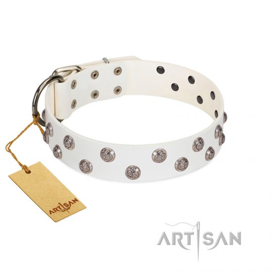 """Wild Flora"" FDT Artisan White Leather Great Dane Collar with Silver-like Engraved Studs"