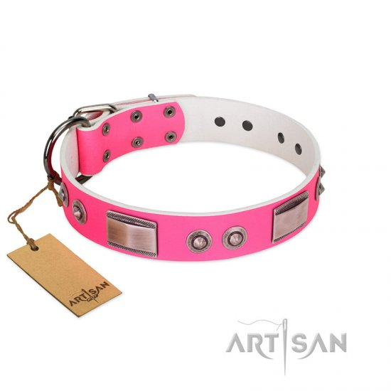 """Lady's Whim"" FDT Artisan Pink Leather Great Dane Collar with Plates and Spiked Studs"