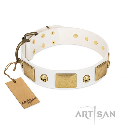 """Inspiration"" FDT Artisan White Leather Great Dane Collar with Antiqued Skulls and Plates"