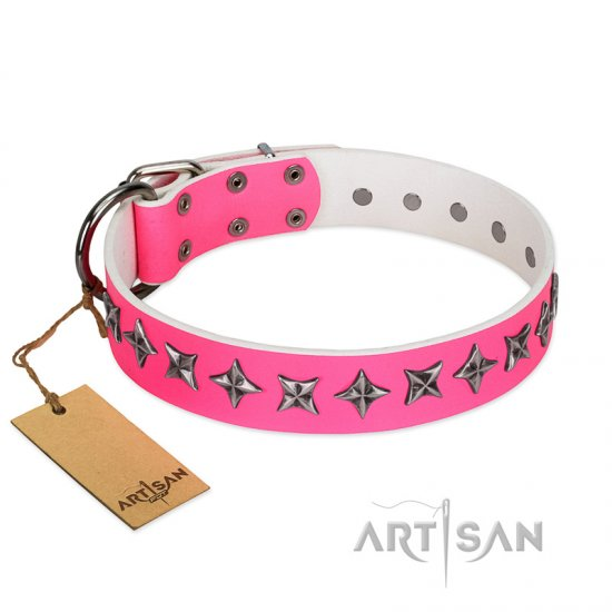 """Star Dreams"" FDT Artisan Pink Leather Great Dane Collar with Silver-like Stars"
