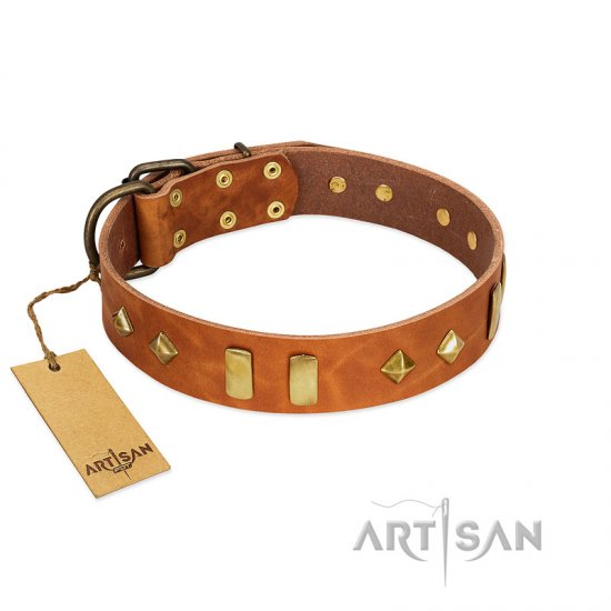 """Woofy Dawn"" FDT Artisan Tan Leather Great Dane Collar with Plates and Rhombs"