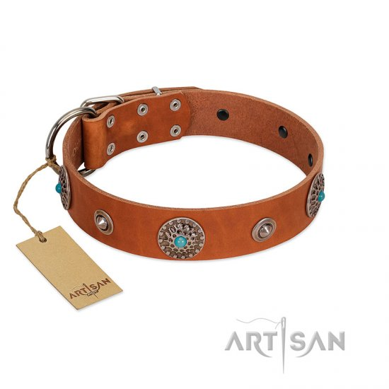 """Marine Antiques"" Handmade FDT Artisan Tan Leather Great Dane Collar with Blue Stones"