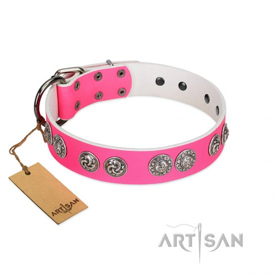 """Periapt of Power"" FDT Artisan Pink Leather Great Dane Collar with Chrome Plated Medallions"