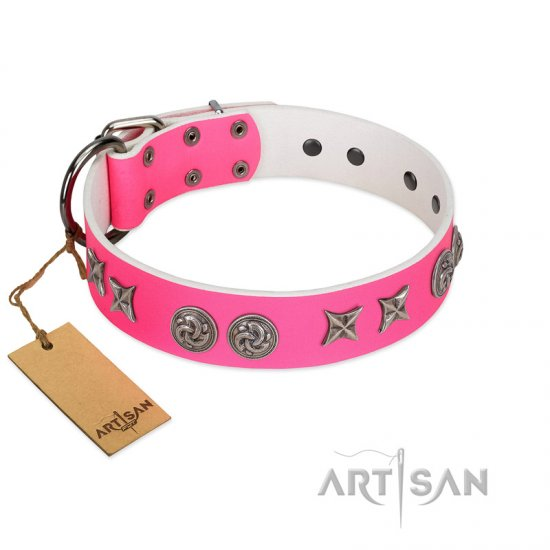 """Winsome Lassie"" Designer Handmade FDT Artisan Pink Leather Great Dane Collar"