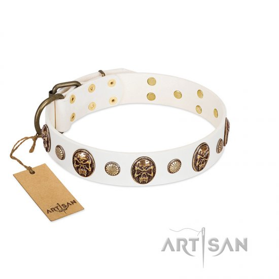 """Fatal Beauty"" FDT Artisan White Leather Great Dane Collar with Old Bronze-like Studs and Oval Brooches"