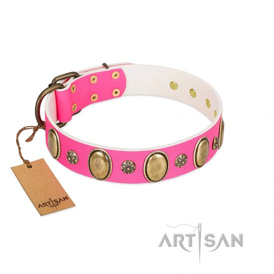 """Hotsie Totsie"" FDT Artisan Pink Leather Great Dane Collar with Ovals and Small Round Studs"