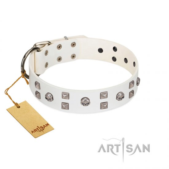"""Rock the Sky"" Durable FDT Artisan White Leather Great Dane Collar with Chrome-plated Decorations"