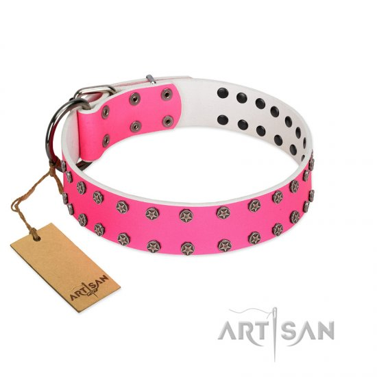 """Pink Fashion"" Designer FDT Artisan Pink Leather Great Dane Collar with Silver-Like Studs"