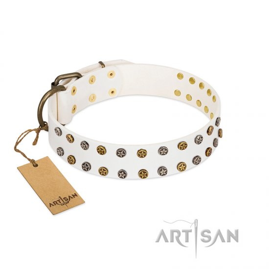 """Crystal Night"" FDT Artisan White Leather Great Dane Collar with Two Rows of Small Studs"