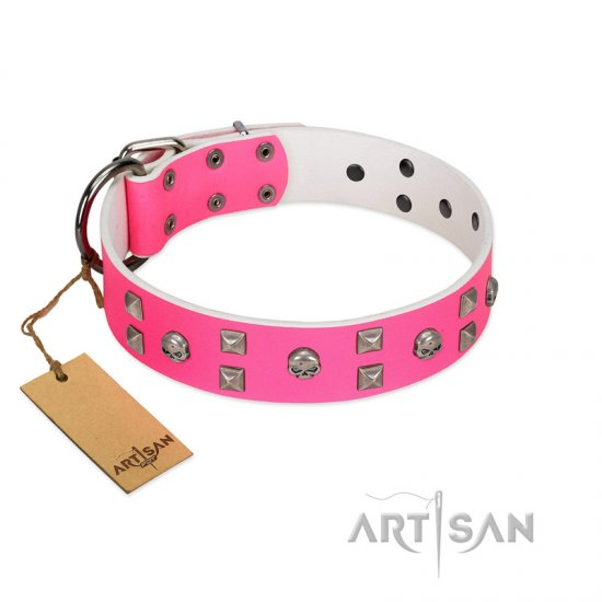 """Crystal Skull"" Premium Quality FDT Artisan Pink Designer Great Dane Collar with Skulls and Studs"