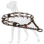 Black Stainless Steel Pinch Collar for Great Dane - 1/8 inch (3.2 mm)