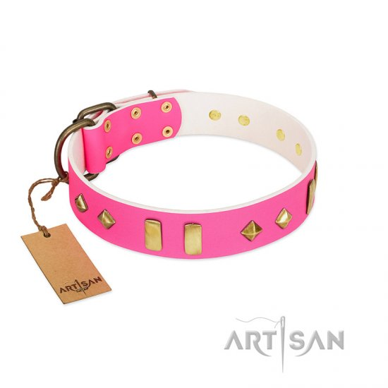"""Gentle Temptation"" FDT Artisan Pink Leather Great Dane Collar with Goldish Plates and Studs"