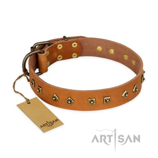 'Autumn Story' FDT Artisan Tan Leather Great Dane Collar with Old Bronze Look Studs - 1 1/2 inch (40 mm) wide