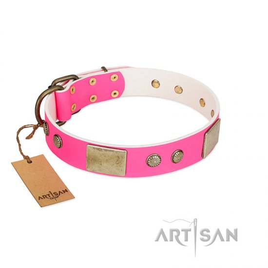 """Flower Parade"" FDT Artisan Pink Leather Great Dane Collar with Plates and Studs"