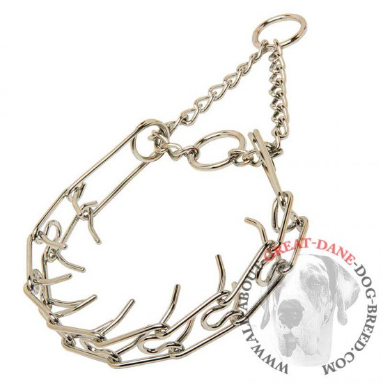 """Subdue at Ease"" Chrome Plated Pinch Collar for Great Dane - 1/8 inch (3.2 mm)"
