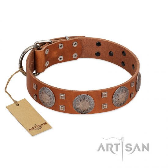 """Sun Rise Noon"" FDT Artisan Tan Leather Great Dane Collar with Unique Design"