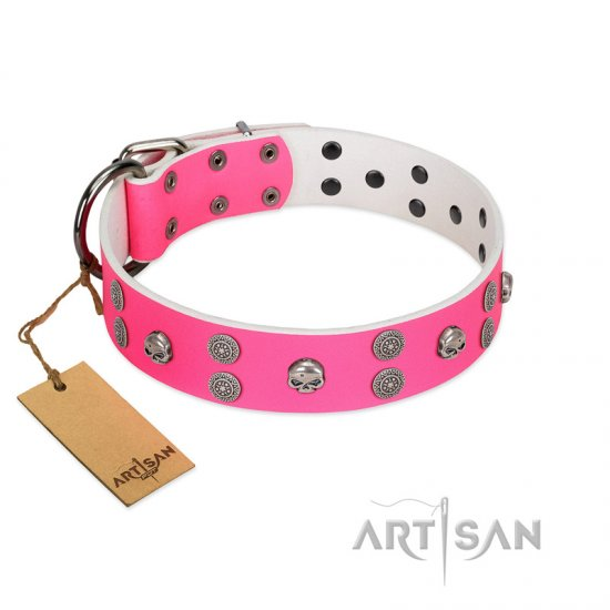 """Spiffy Style"" Handcrafted FDT Artisan Pink Leather Great Dane Collar with Skulls"
