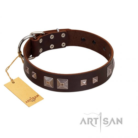 """Object of Virtu"" FDT Artisan Brown Leather Great Dane Collar with Old Silver-like Square Studs and Pyramids"