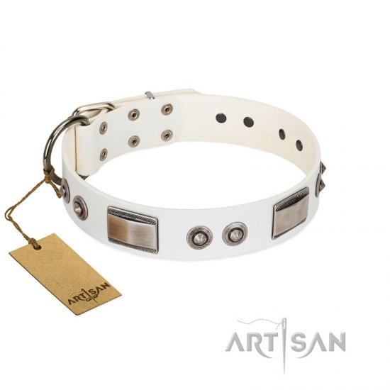 """Good-Luck Piece"" FDT Artisan White Great Dane Collar Adorned with Chrome Plated Studs and Plates"