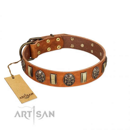 """Strike of Rock"" FDT Artisan Tan Leather Great Dane Collar with Plates and Medallions with Skulls"