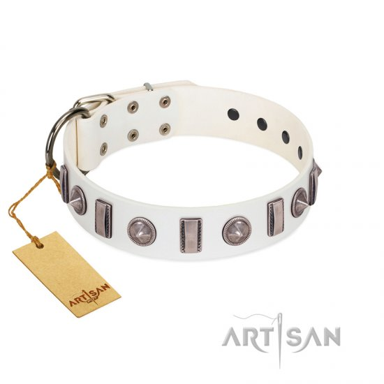 """Icy Spike"" Designer FDT Artisan White Leather Great Dane Collar with Silver-Like Decorations"