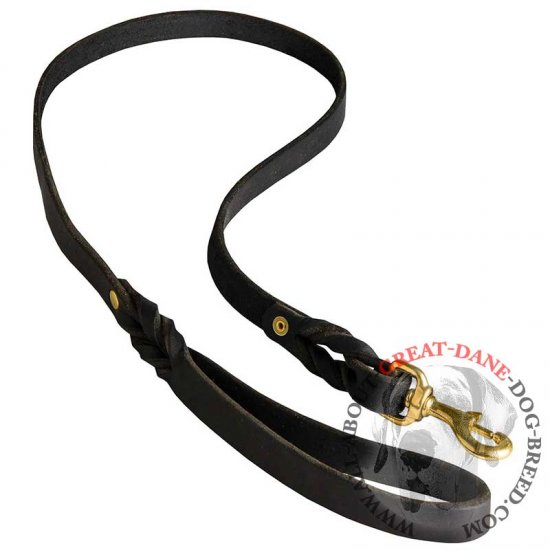 Braided Leather Dog Lead for Great Dane Training and Walking