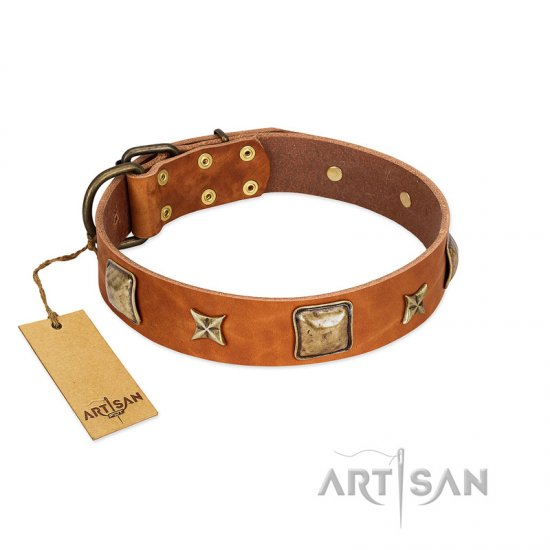"""Celtic Tunes"" FDT Artisan Tan Leather Great Dane Collar Adorned with Stars and Squares"