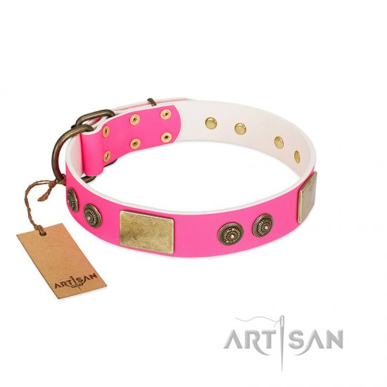 """Queen's Whim"" FDT Artisan Fancy Walking Pink Leather Great Dane Collar Adorned with Old Bronze-like Plates and Studs"