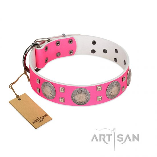 """Sunny Star"" Designer Handmade FDT Artisan Pink Leather Great Dane Collar"