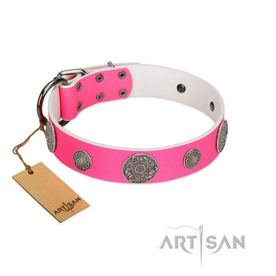 """Pink Elegance"" Designer Handmade FDT Artisan Pink Leather Great Dane Collar"