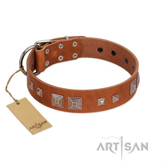 """Egyptian Gifts"" Handmade FDT Artisan Tan Leather Great Dane Collar with Chrome-plated Pyramids"