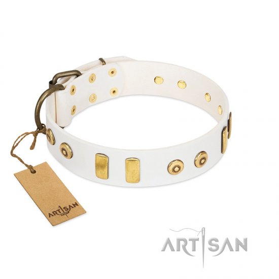 """Golden Union"" Elegant FDT Artisan White Leather Great Dane Collar with Old Bronze-like Dotted Studs and Tiles"