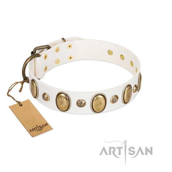 """Milky Lagoon"" FDT Artisan White Leather Great Dane Collar with Vintage Looking Oval and Round Adornments"