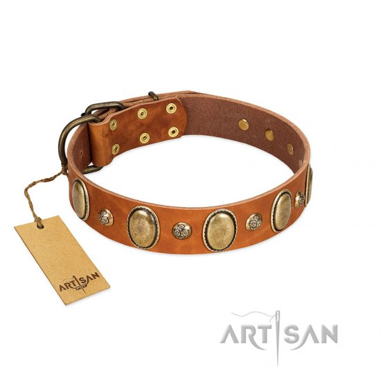 """Venus Breath"" FDT Artisan Tan Leather Great Dane Collar with Vintage Looking Oval and Round Studs"