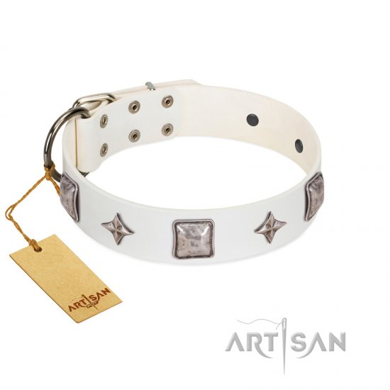 """Vanilla Ice"" FDT Artisan Handmade White Leather Great Dane Collar with Silver-like Adornments"
