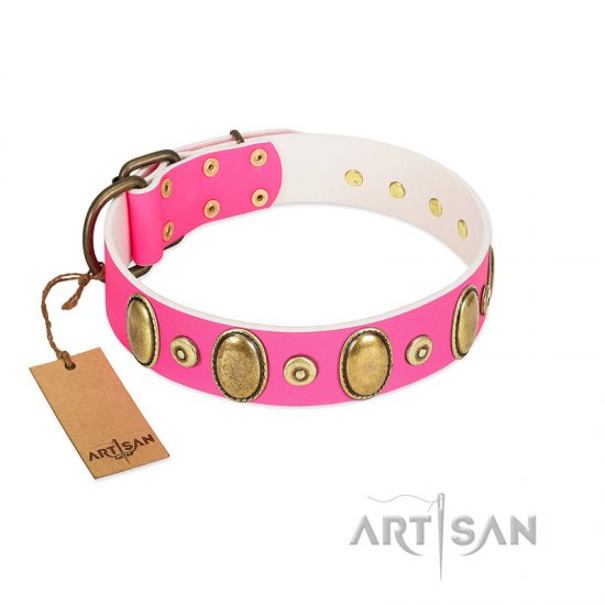 """Drawing Power"" FDT Artisan Pink Leather Great Dane Collar with Engraved Ovals and Dotted Studs"