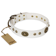 """Adorable Dream"" FDT Artisan White Leather Decorated with Studs and Plates Collar for Great Dane"
