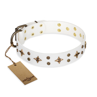 """Bright stars"" FDT Artisan White Leather Great Dane Collar with Shiny Decorations"