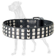 Stylish Leather Great Dane Collar with Silver Pyramids