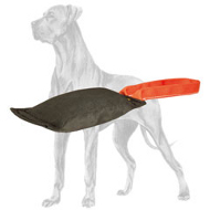 Drive and Retrieve Building Great Dane Gear - Leather Dog Bite Tug with 1 Handle