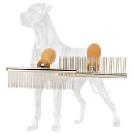 Proper Grooming with Great Dane Brush of Stainless Steel and Wood