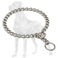 Top Quality Chrome Plated Great Dane Choke Collar - 1/9 inch (3 mm)